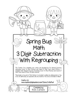 """Spring Bug Math"" 3 Digit Subtraction Regrouping  - Common"