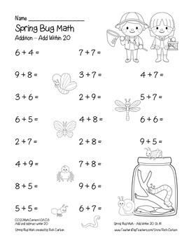 """Spring Bug Math"" Add Within 20 - Common Core - Addition Fun! (black line)"