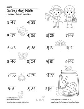"""Spring Bug Math"" Mixed Division – Common Core - Division Fun! (black line)"