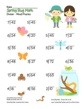 """Spring Bug Math"" Mixed Division –Common Core - Division Fun! (color)"