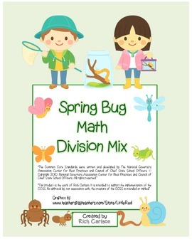 """Spring Bug Math"" Mixed Division –Common Core - Fun! (black line & color)"