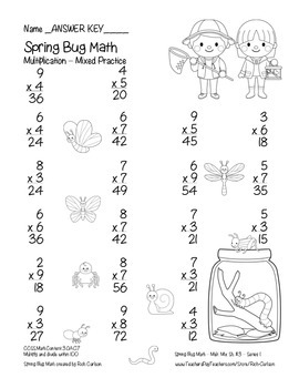 """""""Spring Bug Math"""" Mixed Multiplication – Series #1 - Common Core! (black line)"""