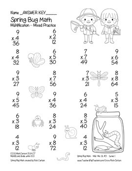 """Spring Bug Math"" Mixed Multiplication – Series #2 - Common Core! (black line)"
