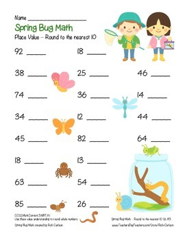 """Spring Bug Math"" Place Value – Round to 10 Within 100 - Common Core! (Color)"