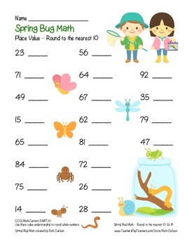 """""""Spring Bug Math"""" Place Value - Round to 10 Within 100  (color & black line)"""