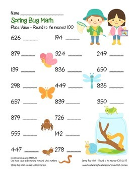 """""""Spring Bug Math"""" Place Value – Round to Nearest 100 Within 1,000 (Color)"""