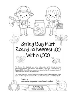 """Spring Bug Math"" Place Value – Round to Nearest 100 Within 1,000 (black line)"