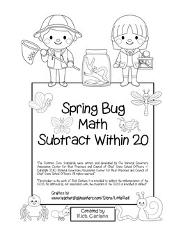 """""""Spring Bug Math"""" Subtract Within 20 - Common Core -  Fun! (black line)"""