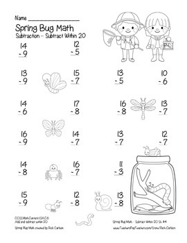 "FREEBIE 50! ""Spring Bug Math"" Subtract Within 20  (black line & color)"