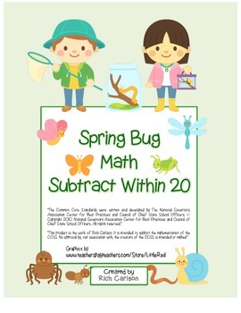 """FREEBIE 50! """"Spring Bug Math"""" Subtract Within 20  (black l"""