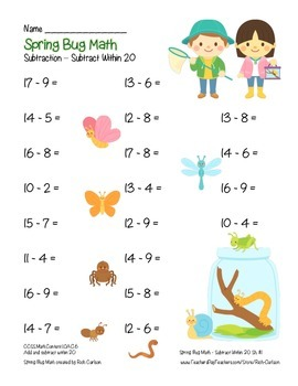 """""""Spring Bug Math"""" Subtract Within 20 - Common Core -  Fun! (color)"""