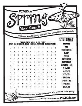 Spring Bug Word Search