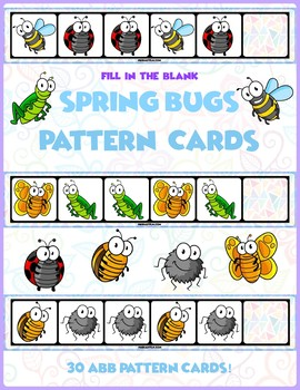 Spring Bugs ABB Pattern Cards | 30 Cards