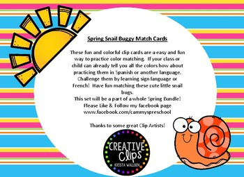 Spring Bugs Color Clip Cards