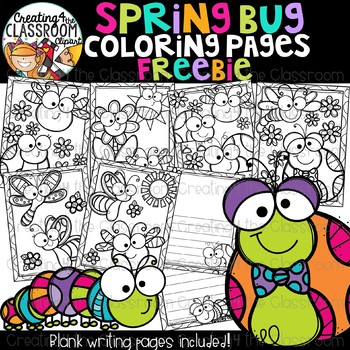 Spring Bugs Coloring and Writing Pages Freebie