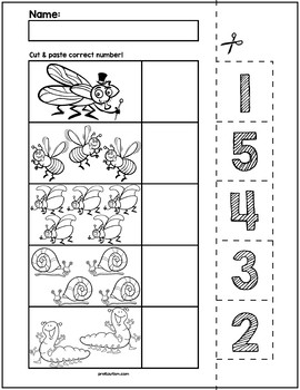 Spring Bugs Cut & Match Worksheets | Numbers 1-5 by preKautism | TpT
