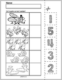 Spring Bugs Cut & Match Worksheets | Numbers 1-5