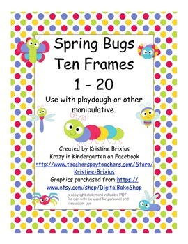 Spring Bugs Playdough Ten Frame Mats to 20