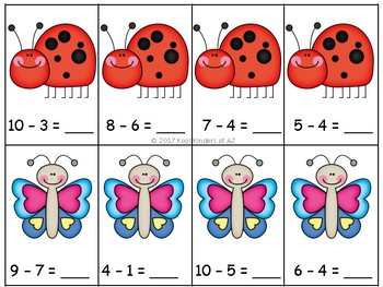 Spring Bugs Subtraction Center