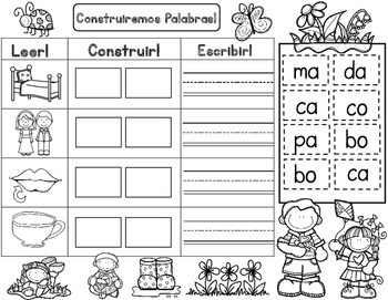 Silabas:  Spring Themed Spanish Syllables Word Work, Building Words