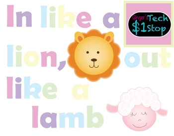 Spring Bulletin Board * In Like a Lion, Out Like a Lamb * Letters * Clipart