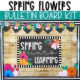 Spring Bulletin Board Kit - Spring Flowers Chalkboard Theme