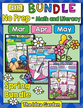 Spring Bundle - NO PREP Math & Literacy (Fourth) - Mar/Apr/May