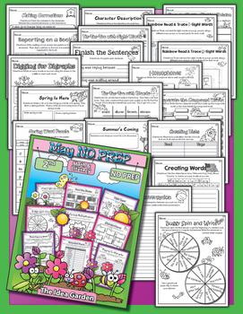 Spring Bundle - NO PREP Math & Literacy (Second) - Mar/Apr/May