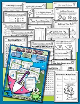 Spring Bundle - NO PREP Math & Literacy (Third) - Mar/Apr/May
