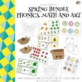 Spring Bundle Phonics, Math, and Arts activities