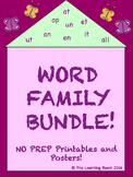 Spring Bundle! Word Family Posters and NO PREP Printables!