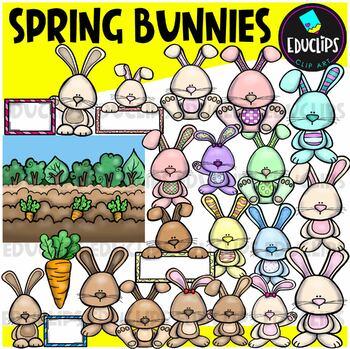 Spring Bunnies Clip Art Bundle {Educlips Clipart}