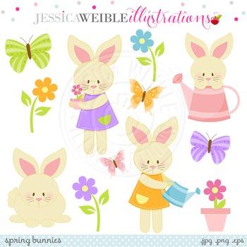 Spring Bunnies Cute Digital Clipart, Easter Bunny Clip Art