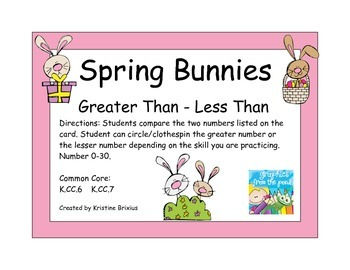 Spring Bunnies Greater Than - Less Than