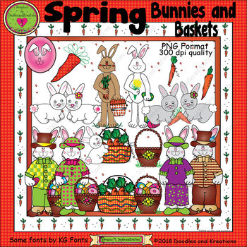 Spring Bunnies and Baskets ClipArt
