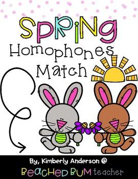 Spring Bunnies and Flowers: Homophones Match Center