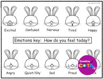 Spring Bunny Emotions and Feelings Bingo