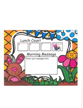 Spring Bunny Lunch Count and Morning Message