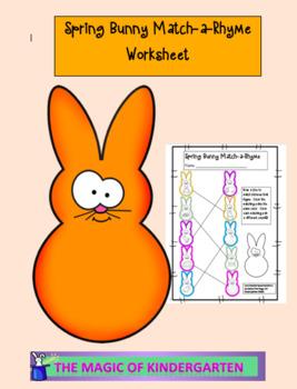 Spring Bunny Match-a-Rhyme Worksheet