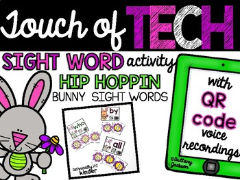 Spring Bunny Sight Word Practice with Audio QR Codes for S