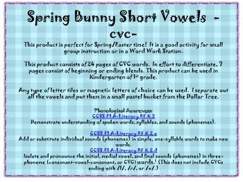 Spring Bunny Vowels -cvc-