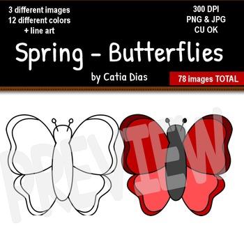 Spring - Butterflies Clip Art
