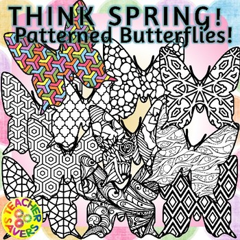 Spring Butterflies Coloring Clip Art Set Commercial and Pe