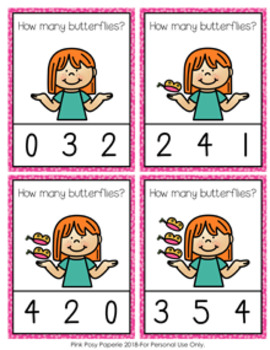 Spring Butterflies Count and Clip Cards