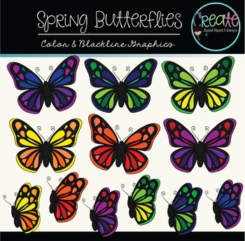 Spring Butterflies - Digital Clipart