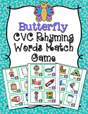 Spring Butterfly CVC Rhyming Words Match Game