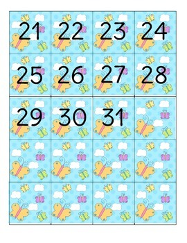Spring Butterfly Calendar Number Set