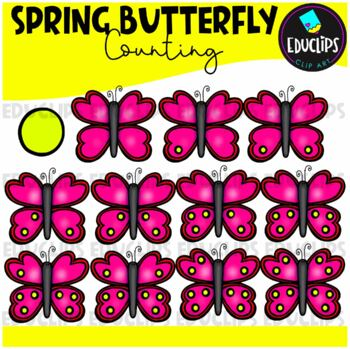 Spring Butterfly Counting Clip Art Bundle  {Educlips Clipart}