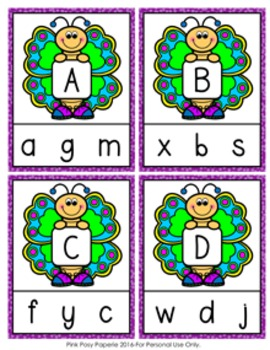 Spring Butterfly Letter Match Clip Cards
