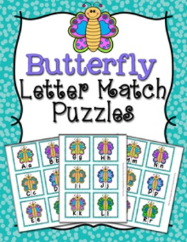 Spring Butterfly Letter Match Puzzles